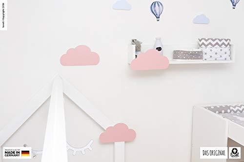 luvel (M6) – 3er Set XXL Wolken mit 3D-Effekt als Kinderzimmer Deko Wandtattoo Kinderzimmer 30×15 cm 5mm Kunststoff (rosa) - 5