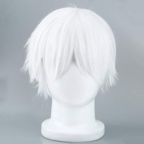 Swiftswan Männliche weiße synthetische Perücke für Cosplay Anime Charaktere gerade Kurze Hochtemperaturseide Haar für Cosplay Perücken