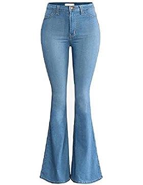 SYGoodBUY Pantalones de Mujer de Cintura Alta de Gran Tamaño Chic Jeans Piernas largas Wide Fluid Casual Slimming