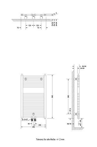 Badheizkörper Mittelanschluss Toskana 70x40 cm Design-Heizkörper Bad weiß vom Renovierungsprofi, 1 Stück, 4056397001737 - 4