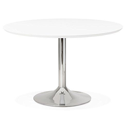 Alterego - Table à Diner/de Bureau Ronde 'Kitchen' en Bois Blanc - Ø 120 cm