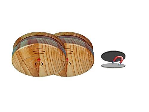 SMARTWARES 2er-Set optische Rauchmelder in Holzoptik inkl. Magnethalter, 85dB Alarm; RM149H; RMAG2