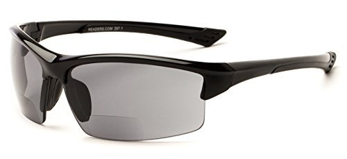 Readers.com The Foster Bifocal Sun Reader +3.00 Glossy Black Unisex Sport & Wrap-Around Reading Sunglasses by Readers