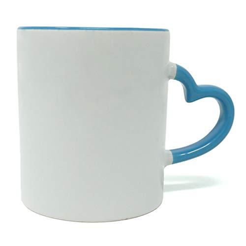 Weiße Keramiktasse mit schönem Herz-Griff, Kaffeetasse und Teetasse, beste Teetasse, für heiße und kalte Getränke, mikrowellenfest und spülmaschinenfest blau