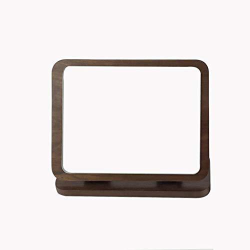 JXJJD Desktop-Klappspiegel aus Holz HD große Runde einseitige Schminkspiegel Arbeitsplatte Desktop Beauty Make-up Spiegel (Farbe : Brown)