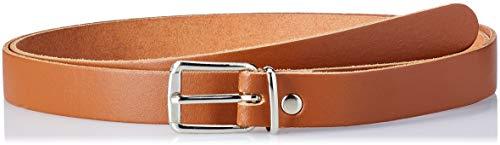 Schmaler Ledergürtel 2 cm breit Gesamtlänge 85 cm bis 130 cm Farbe Cognac Braun Gesamtlänge 130cm