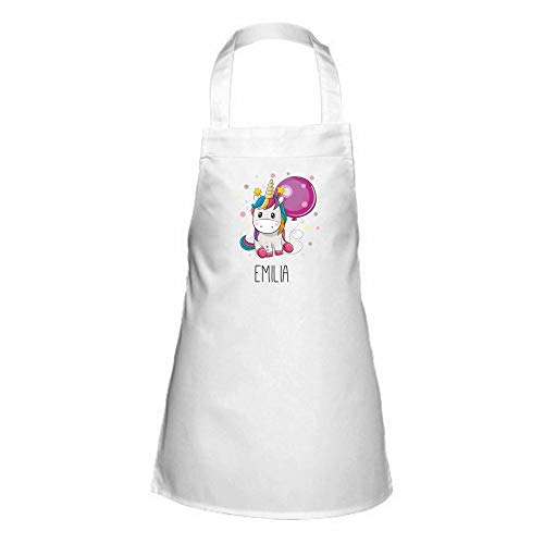 4you Design Personalisierte Kinderschürze ☆versch. Motive + Namen - ☆Bär ☆Bär mit Flügeln ☆Einhorn ☆Eule & Giraffe - Backen - Kochen (Einhorn) (Kinder Oster-ideen Für)