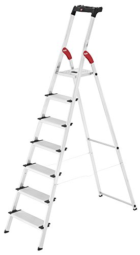 Hailo 8040-707 XXL safety ladder, 7 steps, multifunction tray, 130 mm deep steps, made in Germany