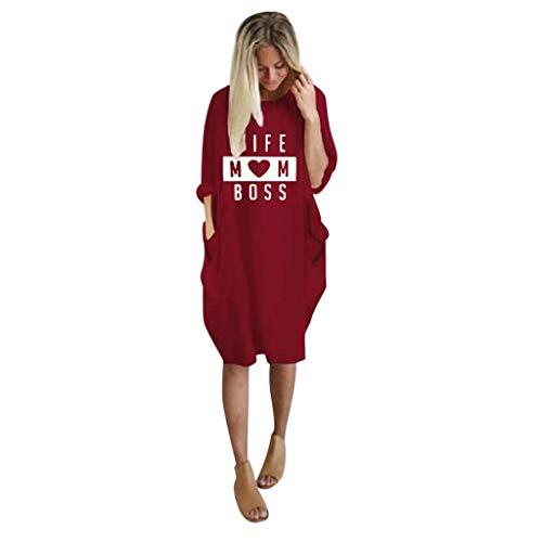 UFACE Damen Braun Boho Kleid Weiß Mädchen Damen Braun Kurzarm Kleid Weiß Kinder Grössen Kleid Damen Sexy Kleid Rot (Linien Krähen)