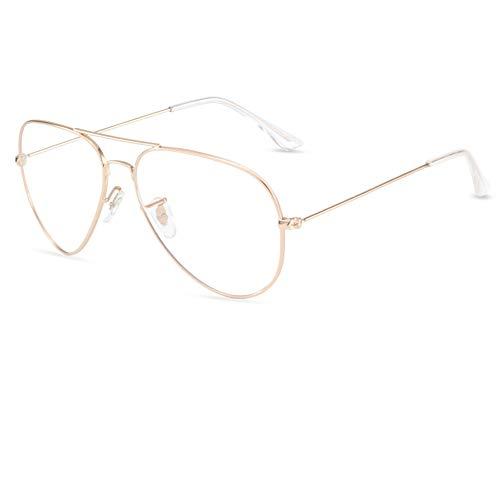 TXWZEI Blaulicht-Schutzbrille Für Damen Und Herren, Computerspielbrille, Flacher Retro-Spiegel, Farbwechselnde Polarisierte Sonnenbrille, L98-03,GoldFrameB2