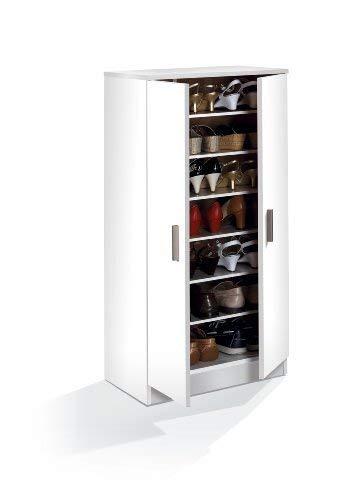 Habitdesign 007813o - scarpiera basic, mobili ausiliari in colore bianco brillante, misure: 108 cm (altezza) x 55 cm (lunghezza) x 36 cm (profondità)