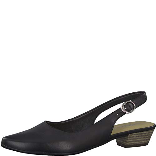 Tamaris 1-1-29400-22 Damen Slingpumps,Slingback Pumps,Knöchelriemchen,Leder,bequem,Komfort,Black Leather,42 EU