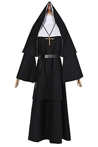 Kostüm Nonne Naughty - Damenkostüm Nonne Kloster Schwester | Weit geschnittene Robe | Nonnenkragen |Schwestern-Uniform Klosterfrau Nonnenkostüm Kirche Naughty Nonne Kostümen Damen Religiös Vikare Schwarzes Kostüm Outfit