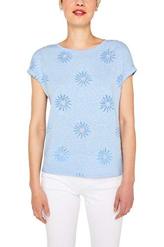 edc by ESPRIT Damen 059Cc1K018 T-Shirt, Blau (Light Blue 440), X-Large - Light Blue Damen-shirt