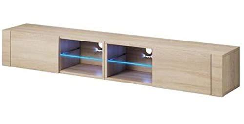 PEGANE Meuble TV Design Coloris chêne Sonoma, avec éclairage LED Bleue