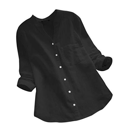 URSING Damen Shirt Classic Leinenhemd Einfarbig Baumwolle und Leinen Tunika Hemdblusen Langarm Freizeithemd Herbst Langarmshirt Damenbluse Blusenshirt Schöne Oberteile (Schwarz,2XL)