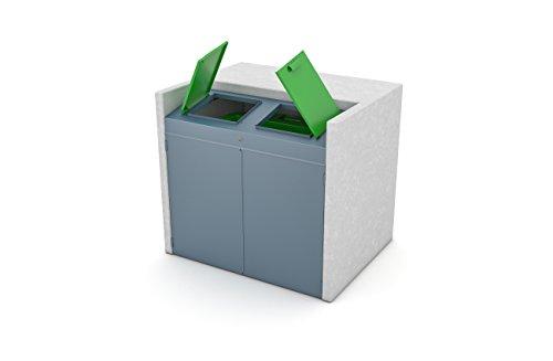 BEWA Mülltonnenschrank CITY, Außen-Verkleidung Müllbehälter für 1×1100 Liter Behälter, 162 x 135 x 160 cm Grün - 2