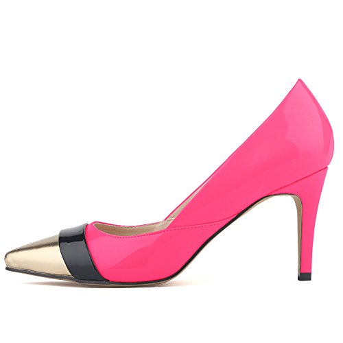 Aisun Damen Elegant Low Top Stiletto High Heels Spitz Metallic Zehen Pumps Rosarot