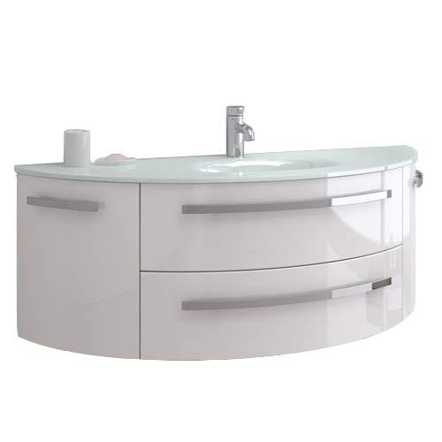 """oimexgmbh Design Badmöbel Set \""""Côte d\'Azur\"""" Weiß Hochglanz Waschtisch 120cmmit Glas Waschbecken Waschplatz Unterschrank"""