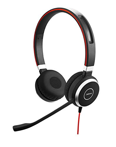 Jabra Evolve 40 UC Stereo-Kabel-Headset mit USB und 3,5 mm-Klinke für Unified Communications an PC/Laptop/Smartphone/Tablet, Busylight Gn Jabra Headset-adapter