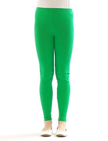 Kinder Mädchen Leggings lang blickdicht aus Baumwolle Hose Jungen Grün 128
