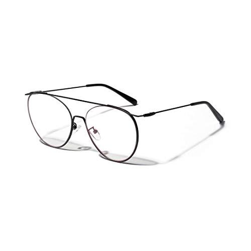 Polarisierte Sonnenbrille mit UV-Schutz Metall Retro Runde Optische Brille Modell Gläser, Unisex, Klare Linse für Frauen / Männer. Superleichtes Rahmen-Fischen, das Golf fährt ( Farbe : Schwarz )