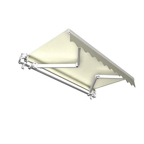 Gelenkarmmarkise Basic mit Volant / Alu Markise weiss / 350 x 300 cm / Stoff elfenbein (3,50 x 3,00 m)
