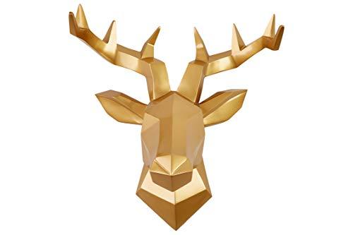 Hansmeier® Hirsch Wandskulptur - Gold - 42 x 41 cm - Wanddeko Geweih Modern - Hirschkopf 3D Deko Schädel - Robustes Dickes Material