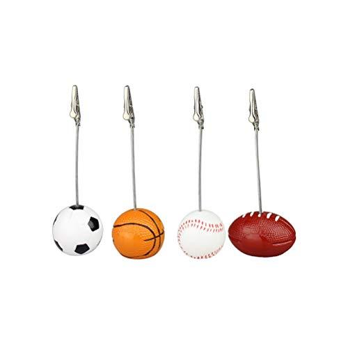 Amosfun Sport Ball Foto Halter Stand Tischkarte Tischnummer Kartenhalter Party Bankett Büro Dekoration Lieferungen 4 stücke (Fußball, Basketball, Baseball, Rugby)