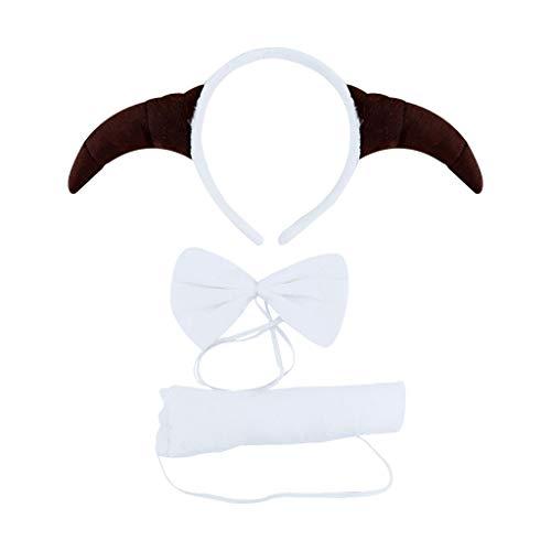 Kostüm Set Lamm Stirnband Schwanz Und - VIccoo 3 Teile/los Tier Lamm Stirnband Set Kinder Urlaub Zeigen Kopfschmuck Erwachsene Rollenspiele Dekorative Requisiten - 4