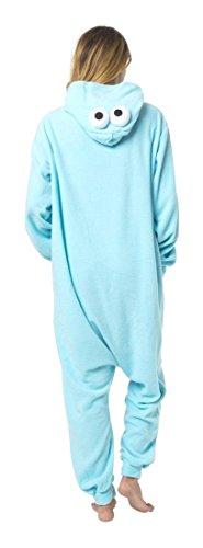 Witziger Krümelmonster-Onesie Jumpsuit, Süßes Cookiemonster-Kostüm - Fasching Karneval Party in Blau, Cosplay Einteiler, Sleepsuit Kapuze, lustiges Tier-Outfit, flauschig bequem, ()