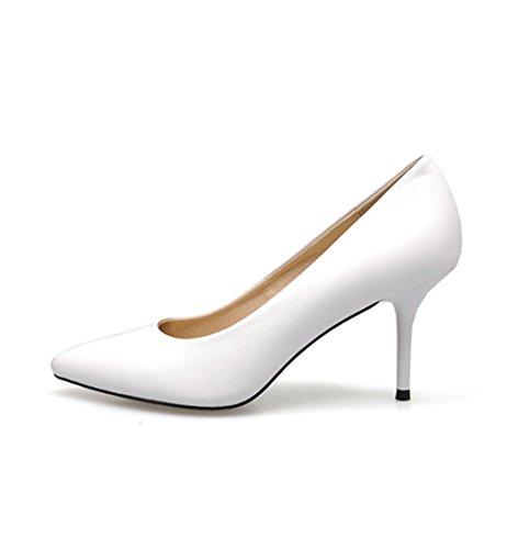 Damen Pumps High-Heels Slip on Spitz Zehen Formell Elegant Klassisch Einfach Bequem Atmungsaktiv Büro OL Freizeit Stiletto Weiß