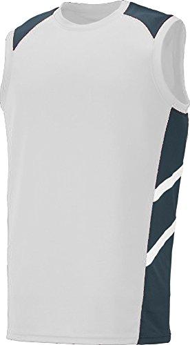 Augusta Sportswear Men'S Oblique Sleeveless Jersey S White/Slate/White (Augusta Sleeveless Jersey)