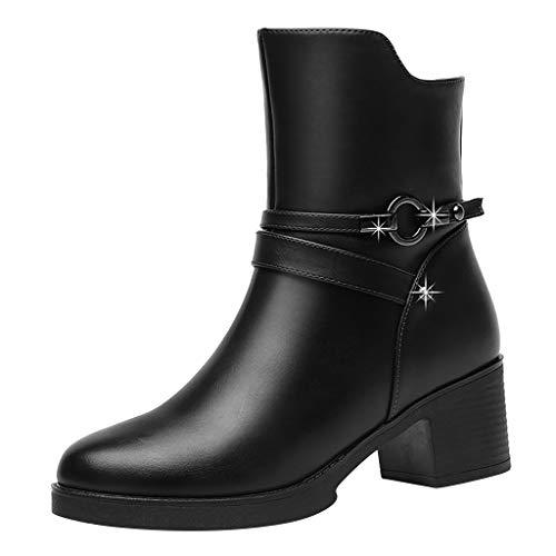 Suitray Damen Stiefeletten Herbst Warm Boots Stiefel Freizeit Leder Schuhe Quadratische Absätze High Heels Mode Mädchen Strassenmode Party Abend Schuhe Kurze Stiefel Lederschuhe