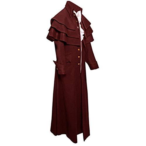 xmansky Halloween Gothic Langes Kleid Vampir Hexe Kleider Cosplay Hexenkostüm Kostüm,Herren Button Fashion Steampunk Vintage Frack Jacke Gothic Gehrock Uniform Coat (Gothic Hexe Für Erwachsene Standard Kostüm)