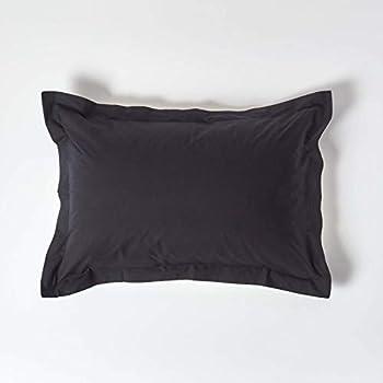 Taie doreiller 50x70 cm en 100/% Coton Percale 78 Fils ELENA PARIS Couleur Noire