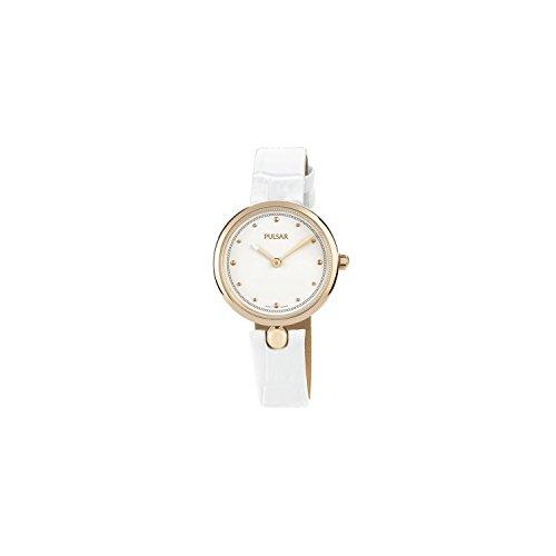 Seiko Pulsar Reloj Mujer Perla Redonda Rosa Piel Blanco