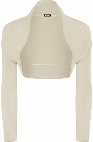 WearAll - Damen bolero strecken Top - Stein - 36-38 (Damen-kurzhaarschnitt)