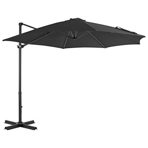 Festnight- Sonnenschirm Ampelschirm mit Schirmständer und Kurbel Terrassenschirm Gartenschirm Marktschirm Sonnenschutz Aluminium & Stahl Anthrazit