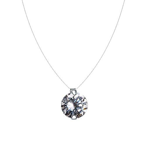 QIYUEQI Ms Halskette S 925 Sterling Silber einfache menschliche Knochen Tränen Zirkon Anhänger Kurz, Schlüsselbein Transparente unsichtbare Angelschnur Halskette