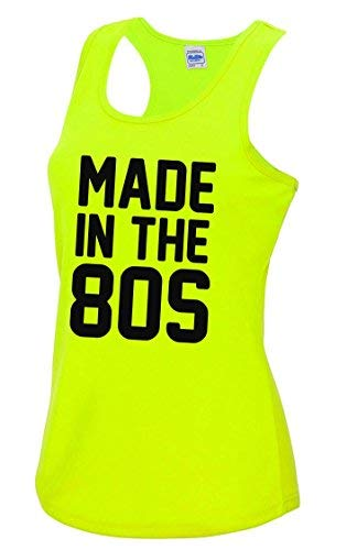 Made in The 80s Ladies Fitness Vest, Yellow, Sizes 8 to 16