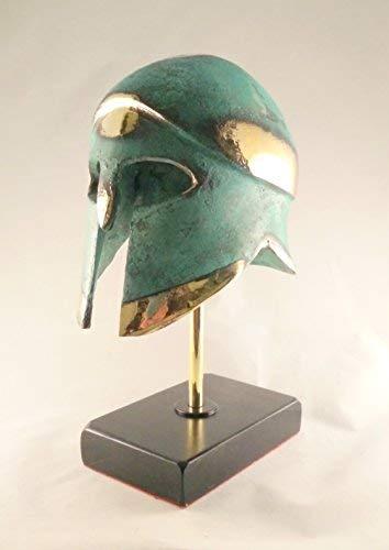 Antike griechische Bronze Museum Replik Korinthischer Helm auf einem Marmor Sockel (376-1) -