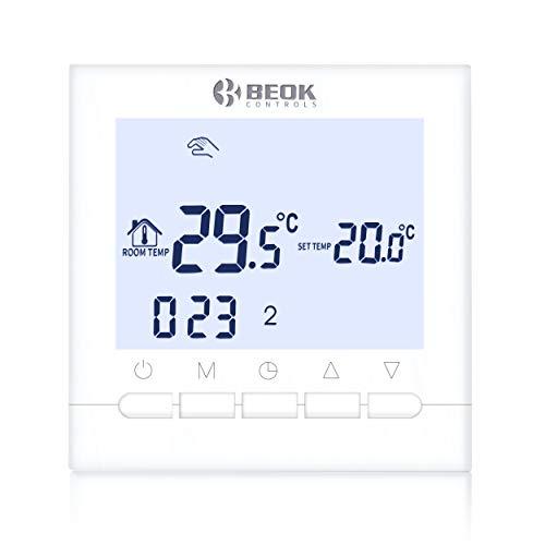 Beok BOT-313W El Cableado Termostato De Caldera De Gas Montado En Pared Con Pantalla LCD Funciona Con 1.5 voltios De Baterías Blanco
