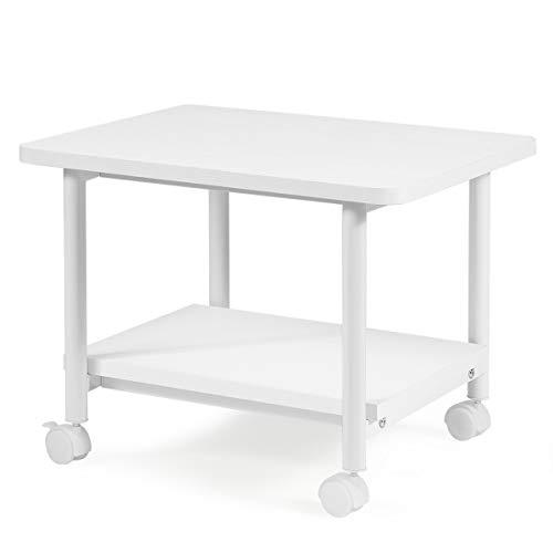 GOPLUS Druckertisch mit Arretierbaren Räder, Rollcontainer mit 2 Ablagen, Rollwagen für Schreibtisch, Drucker Ständer aus Holz, um 360° Drehbare Räder, Multifunktionswagen für Zuhause Büro (Weiß)