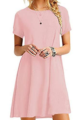 YMING Damen T-Shirt Kleid Casual Kurzarm Tunika Rundhals Loose Kleid,Rosa,XS/DE 34