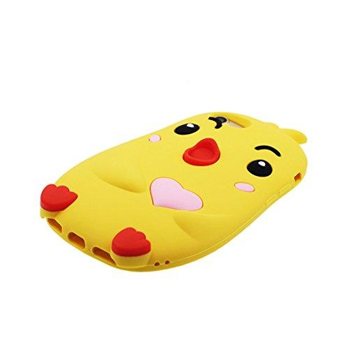 """iPhone 6 Plus Coque, Étui Cover pour iPhone 6s Plus 5.5"""" Cartoon 3D poulet chick en Gel TPU iPhone 6 Plus Case (5.5"""") Résistant à la poussière Scratch et Bouchon anti-poussière jaune"""