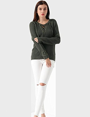 Lonlier Damen Pullover V Ausschnitt Schnürung Einfarbig Langarm Gestrickte Pullover Pulli Armee-Grün