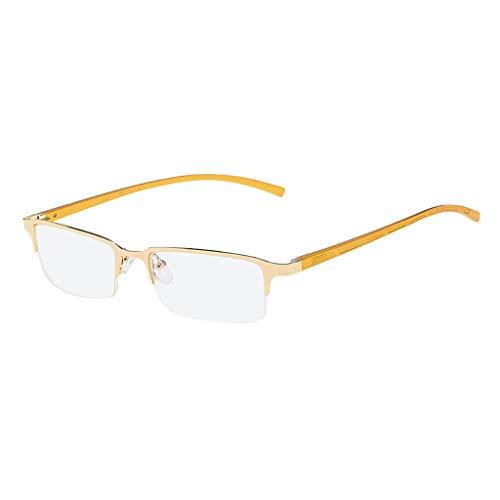 fazry Herren Damen Metallrahmen Halbrand Flacher Spiegel Mode Brille Brillen(Gold)