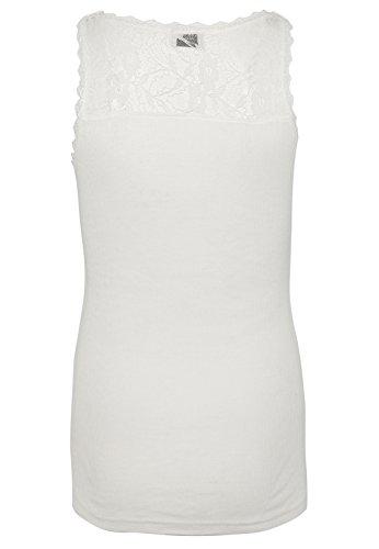Fresh Made Damen Feinripp-Top mit Spitzeneinsatz | Elegantes Basic Spitzenshirt Tailliert geschnitten White