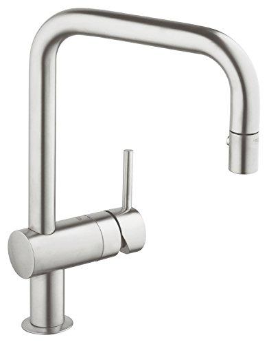 Preisvergleich Produktbild GROHE Minta Küchenarmatur, Schwenkbereich 360°, herausziehbare Spülbrause, SuperSteel, U-Auslauf 32322DC0
